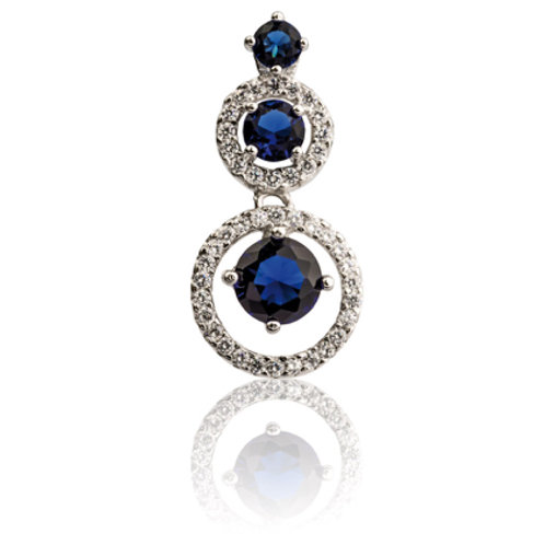 Sterling Silver Round Halo Pendant With Blue And White Cubic Zirconia