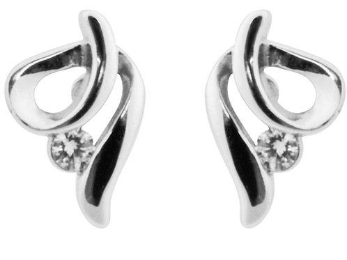Sterling Silver Earrings Swirl 2mm White Cubic Zirconia