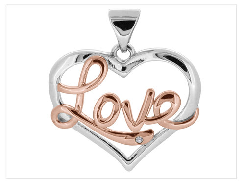 Sterling Silver Pendant Rose Rhodium Love 1mm Cubic Zirconia