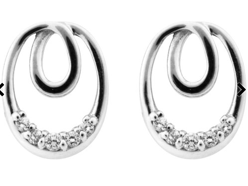 Sterling Silver Earrings Cubic Zirconia Eternal Loop 5 Graduated Cz's