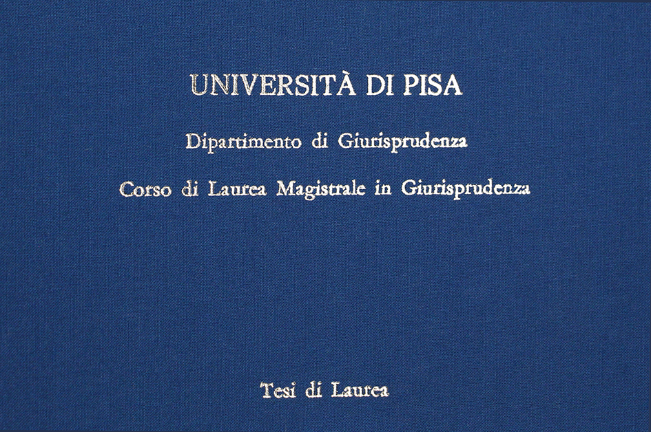 Rilegatura Tesi di Laurea in Tela Azzurra - Tesi Artigianali Pisa
