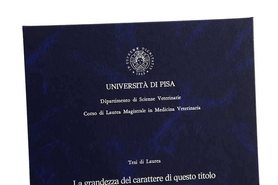 Rilegatura Tesi di Laurea in Similpelle 2. Blu Istrana - Tesi Artigianali Pisa