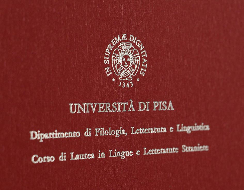 Rilegatura Tesi di Laurea in Similpelle Rosso Metal - Tesi Artigianali Pisa