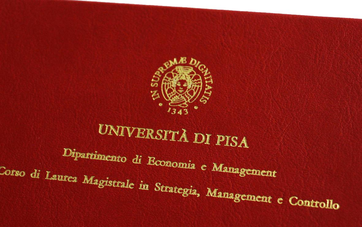 Rilegatura Tesi di Laurea in Ecopelle Rossa - Tesi Artigianali Pisa