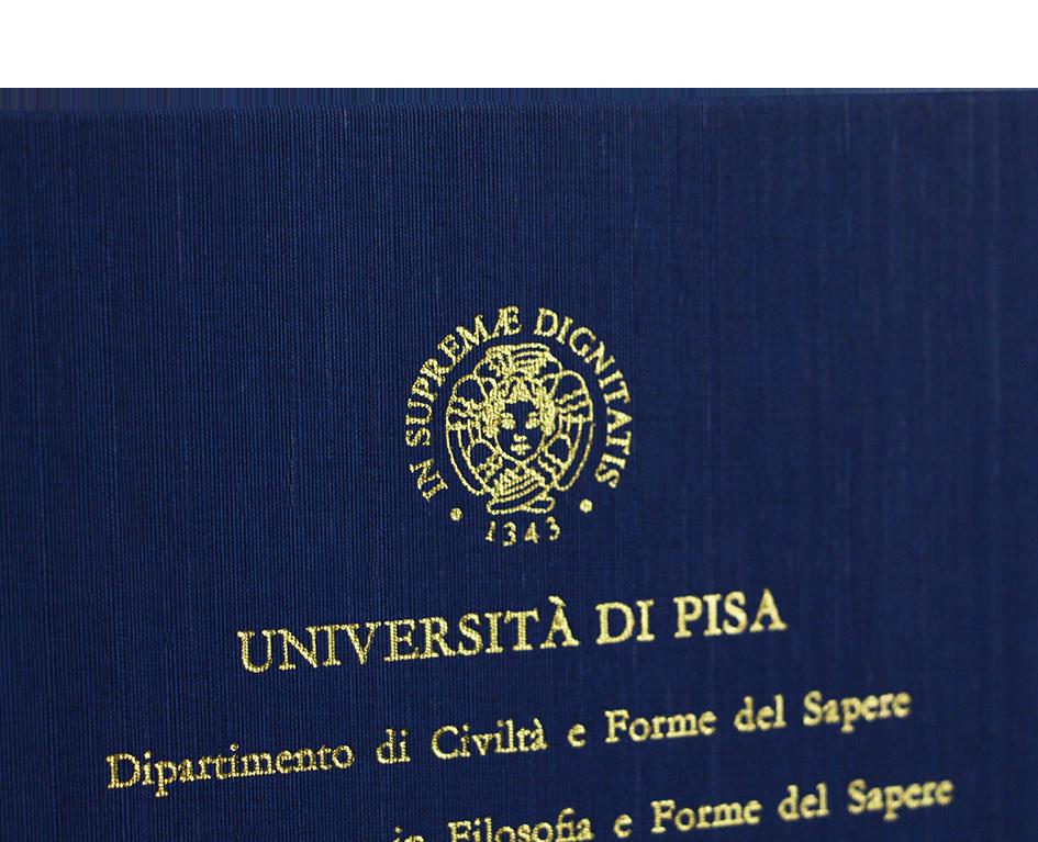 Rilegatura Tesi di Laurea in Fintatela Blu Notte - Tesi Artigianali Pisa