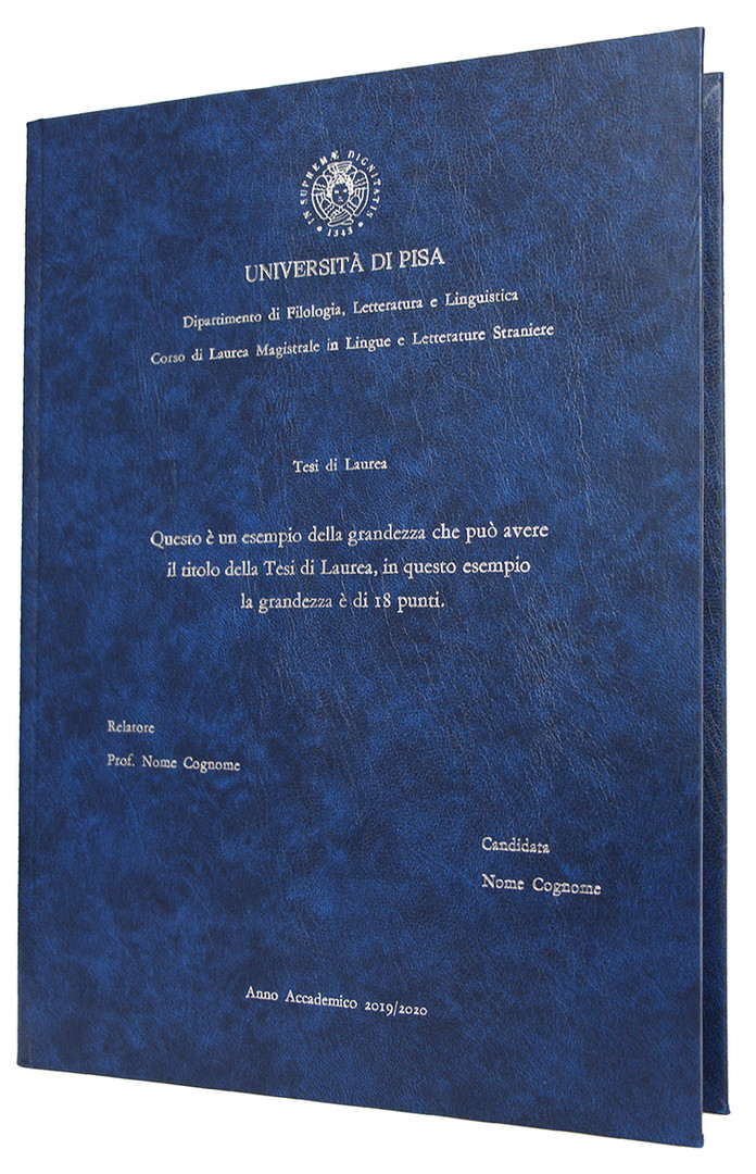 Rilegatura Tesi di Laurea in Similpelle Blu - Tesi Artigianali Pisa