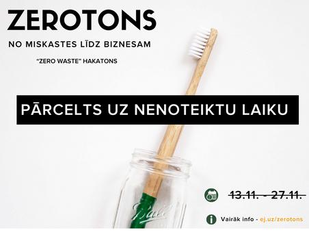 """""""Zerotons"""" jeb """"zero waste"""" biznesa ideju hakatons jauniešiem pārcelts uz nenoteiktu laiku"""