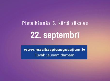Nākamā pieteikšanās mācībām pieaugušajiem sāksies 22. septembrī