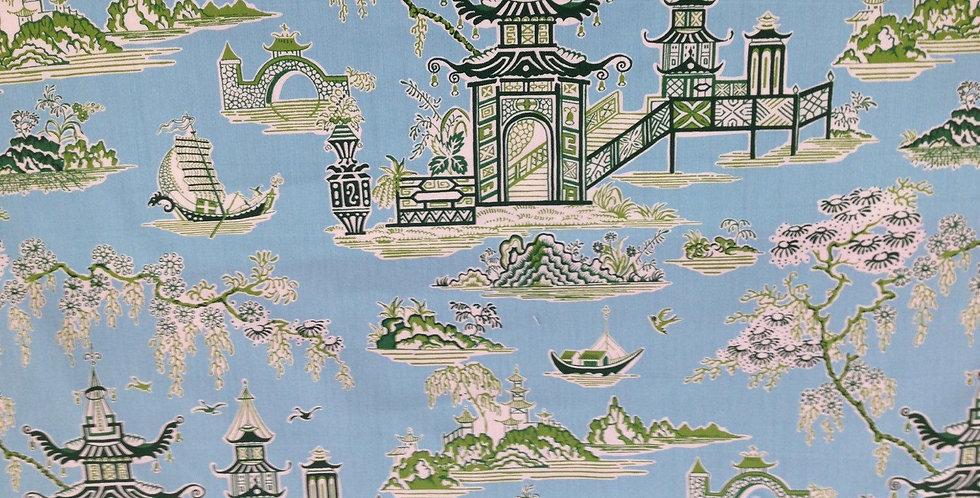 Peaceful Temple Asian Drapery Fabric