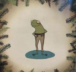 Frog wearing pants