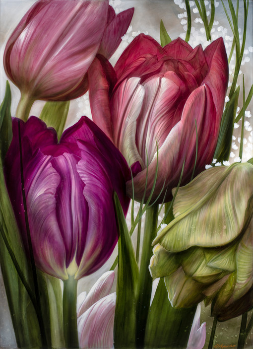 "Lukas Johannes Aigner ""Le son des tulipes""-""Der Klang der Tulpen"" Mixed Media on MDF, 200x140cm, 2019"