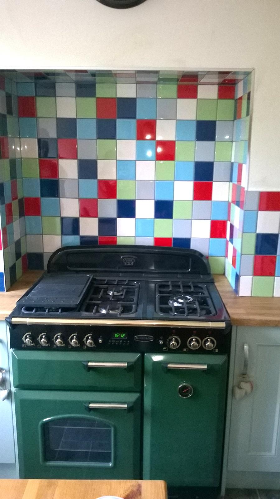 Brightly coloured Harlequin Kitchen Walls