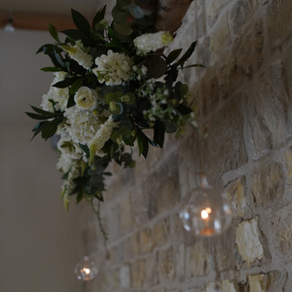 Birch Branch with Silk Floral Arrangements with Hanging Baubles