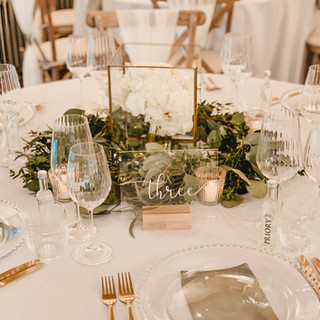 Gold and Glass Cube Lantern and Perspex Table Number