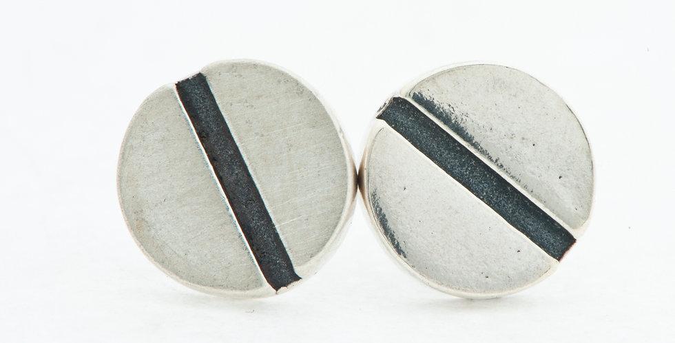Flat head-Silver-Screw earrings