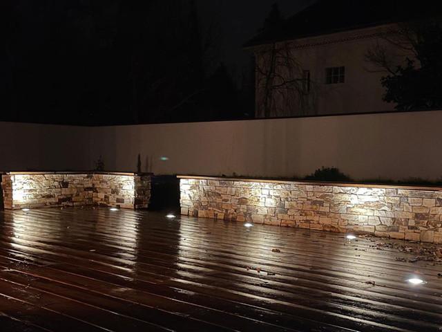 Terrasse bois et muret