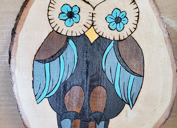 Hand Burned, hand painted Owl