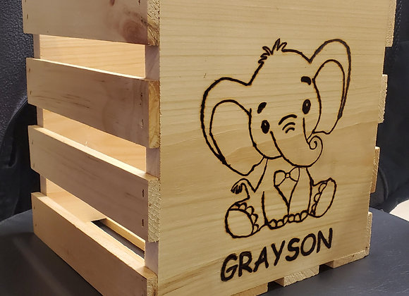 Hand Burned Personalized Gift Crate