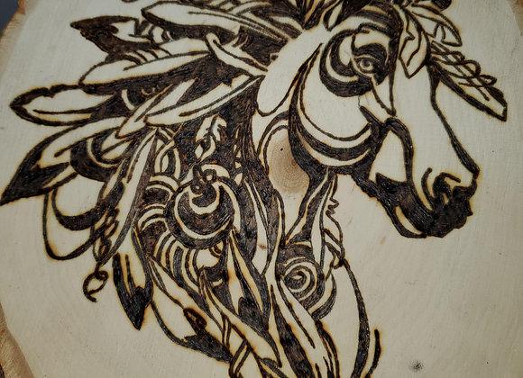 Hand-burned Tribal Horse
