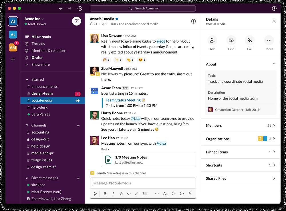 Slack permet aisément de créer des chaînes de conversation