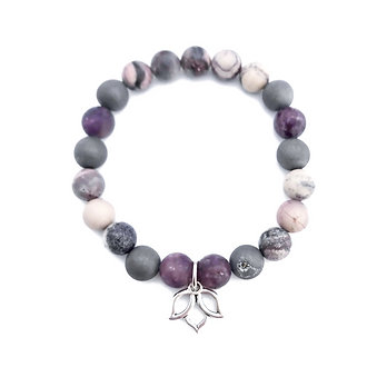 Lepidolite, Silver Druzy Agate and Porcelain Jasper Bracelet with Lotus Charm