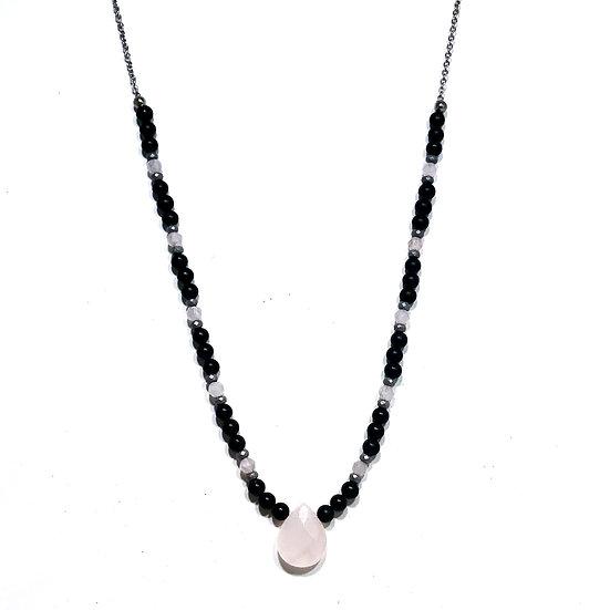 Rose Quartz, Hematite and Onyx Necklace