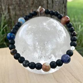 Custom Men's Solar System Bracelet handmade from healing crystal beads by Soul Sisters Designs