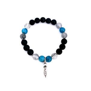Apatite, Gray Smoky Quartz, Hematite and Onyx Bracelet with Spiral Goddess Charm