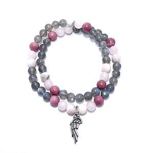 Pink Opal, Rose Quartz, Rhodonite and Labradorite Double Wrap Bracelet