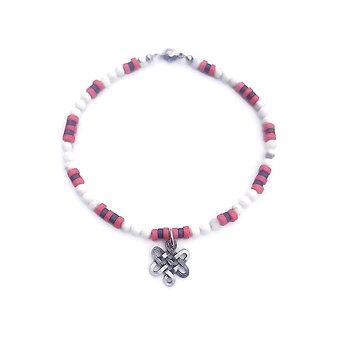 Pink Coral, Hematite and Howlite Anklet with Endless Knot Charm