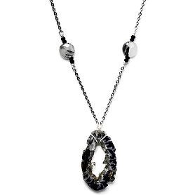 Ocos Geode Pendant with Tourmalinated Quartz and Black Spinel