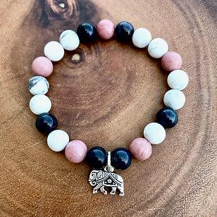 Dumortierite, Rhodonite and Howlite Bracelet with Elephant Charm