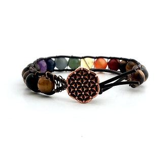 7 Chakras Leather Wrap Bracelet with Tigers Eye