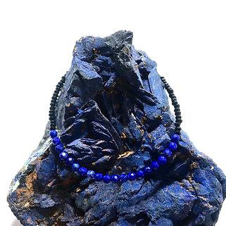 Lapis Lazuli and Black Spinel Mini Adjustable Gemstone Bracelet