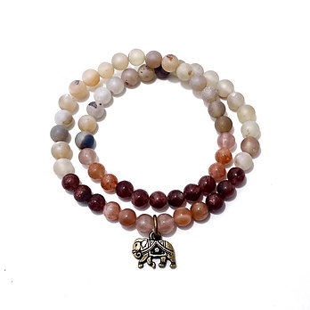 Rose Quartz, Sunstone, Lepidocrocite & Champagne Druzy Agate with Elephant Charm