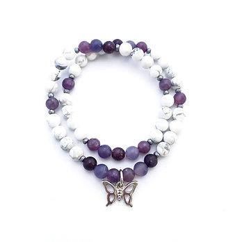 Lepidolite, Hematite and Howlite Double Wrap Bracelet with Butterfly Charm