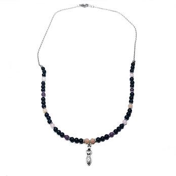 Peach Moonstone, Lepidolite, Rose Quartz, Onyx and Hematite Necklace