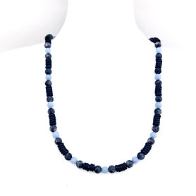 Angelite, Norwegian Moonstone and Black Coconut Wood Men's Necklace