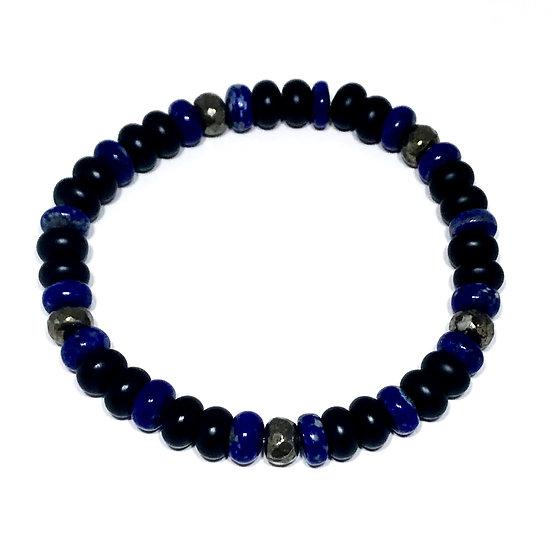 Lapis Lazuli, Pyrite and Matte Black Onyx Bracelet