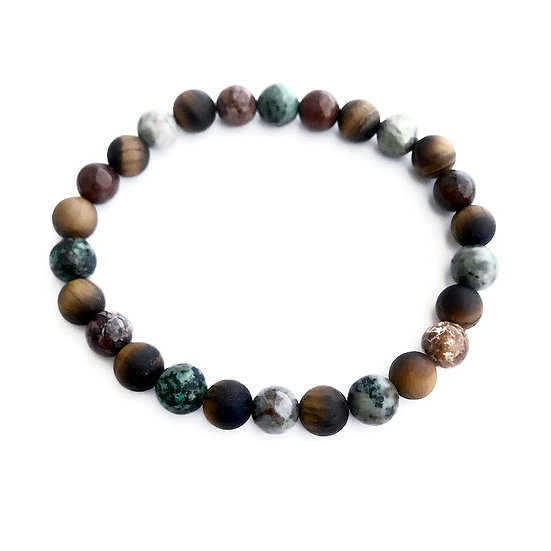 African Turquoise, African Opal and Matte Tigers Eye Men's Bracelet