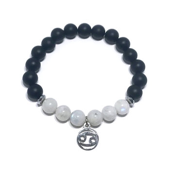 Cancer Bracelet with Rainbow Moonstone, Hematite and Onyx