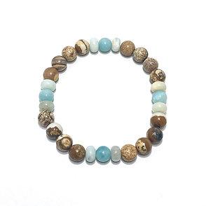 Amazonite and Picture Jasper Men's Bracelet
