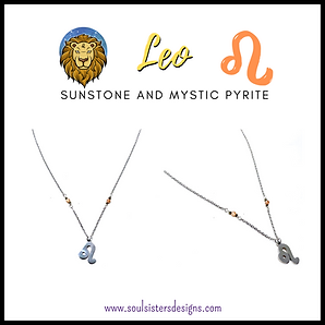 Leo Zodiac Necklace with Sunstone and Mystic Pyrite