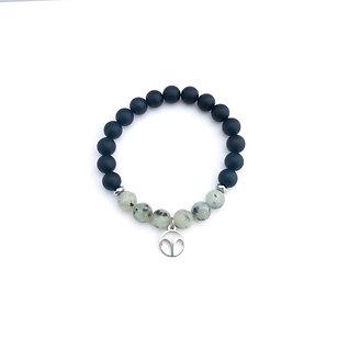 Aries Bracelet with Kiwi Jasper, Hematite and Onyx