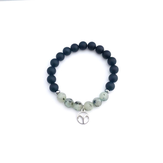 Aries Bracelet with Kiwi Jasper, Hematite and Onyx