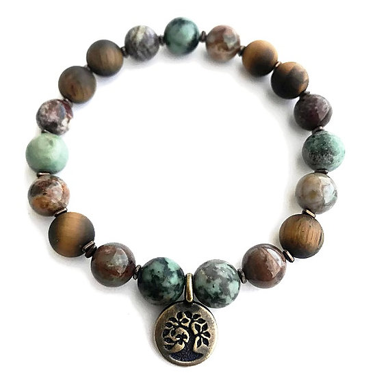 African Turquoise, African Opal and Matte Tigers Eye Bracelet with Tree of Life
