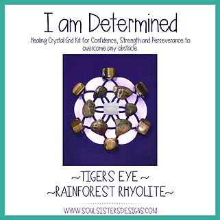 I am Determined Healing Crystal Grid Kit for Confidence, Strength & Perseverance