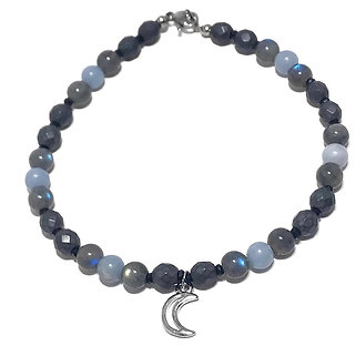 Labradorite, Angelite, Faceted Hematite and Black Spinel Anklet with Moon Charm