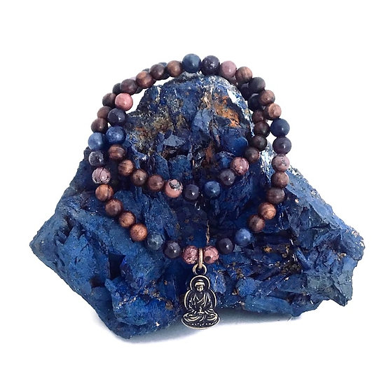Chohua Jasper, Lepidolite, Sodalite and Sandalwood Bracelet with Buddha Charm