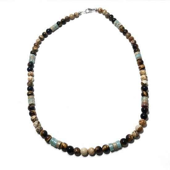 Tiger Eye, Picture and Impression Jasper Necklace